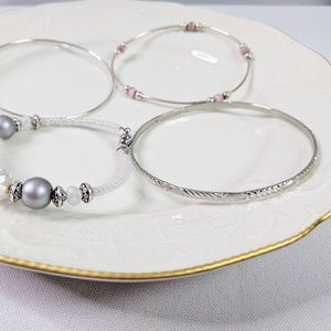 Jewelry - 🌜3 for $25 🌛 4 Silver Tone & Beaded Bangles